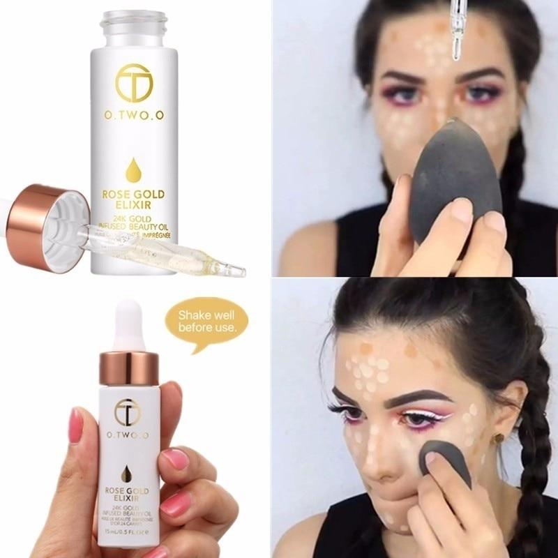 Professional 24k Rose Gold Elixir Oil Anti-aging Face Skin Care Primer Makeup Facial Pore Lip Make Up Primer