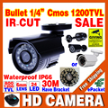 Большая Распродажа 1/4 cmos 1200TVL небольшой Открытый Водонепроницаемый IP66 CCTV Безопасности Цвет Мини HD Камера 24led ИК инфракрасный ночного Видения Кронштейн