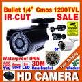Big Sale 1/4 cmos 1200TVL pequeno Ao Ar Livre À Prova D' Água IP66 CCTV Cor De Segurança Mini HD Camera 24led IR infrared Suporte de Visão noturna