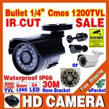 Big Sale 1/4cmos 1200TVL small Outdoor Waterproof IP66 CCTV Security Color Mini HD Camera 24led IR infrared Night Vision Bracket