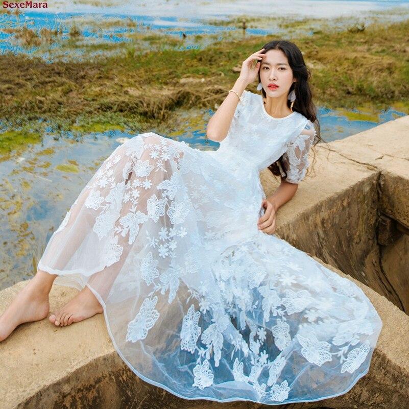 Wei Blumen geben frei die b Strand dreidimensionale Art und Stickerei Spitze Verschiffen Weise neue Sexemara hmische Ferien Kleidfrauen OkZiwPXuT