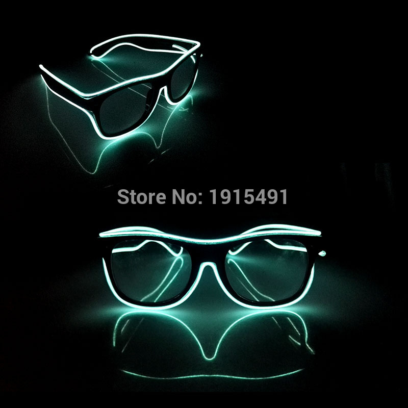 2017 Hot Selling 20Pieces Colorful Neon Led Strip Twinkle Glasses EL Wire Cold Light Glowing  Mysterious Eyewear for Christmas 50pcs neon led bulbs crazy masquerade glasses light up el wire glowing hip hop eyewear as concert fluorescent party supplies