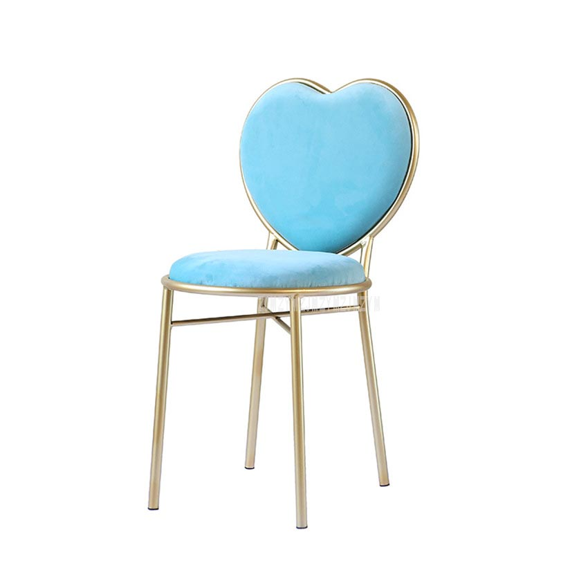 Modern Fashion Nordic Minimalist Coffee Cafe Chair Love Heart Shape Backrest Flannelette Soft Seat Metal Iron Art Leisure Chair