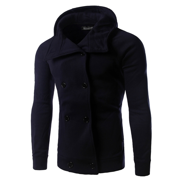 New Arrival Winter Fashion Mens Hoodies British Style Casual Double Button Design Solid Hooded Suits Men Warm Outwear 14QT23