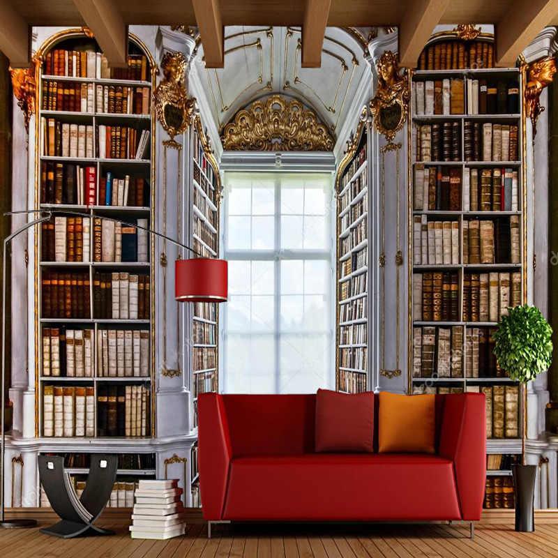 3D Ретро обоев, книжная полка дворец фрески для гостиной диван исследование фоне стены украшения дома бумаги