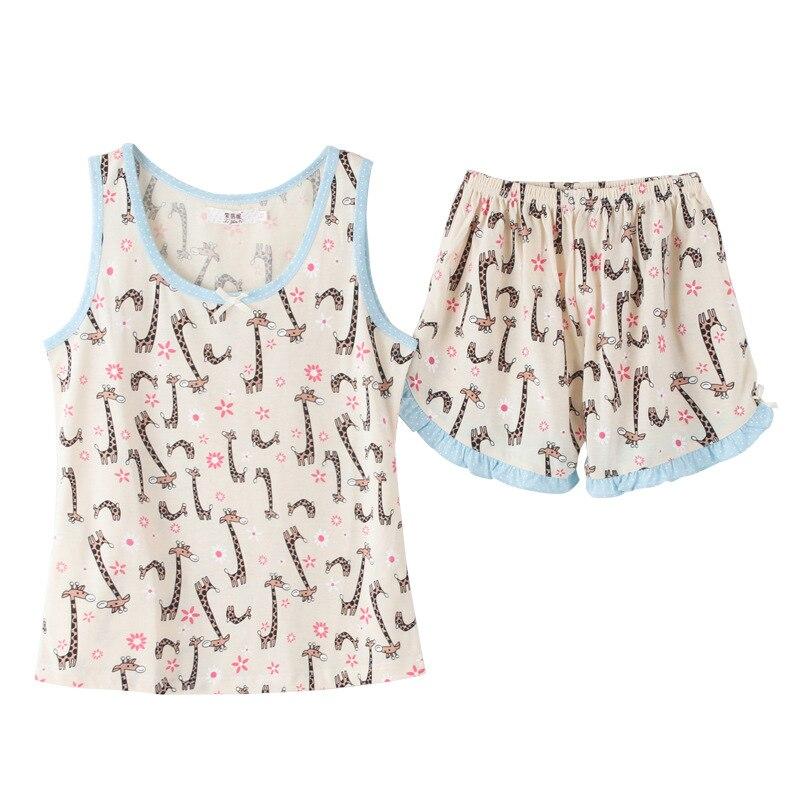 Cute Cartoon Giraffe   Pajamas   Women Girls   Pajama     Set   Tank Top Elastic Waist Shorts Ruffles Bordered Cotton Lounge pyjamas S85204