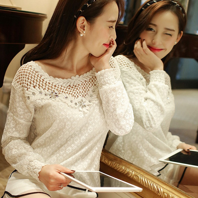 98a513c9d0efc S-5XL 2018 Summer Autumn Sexy Women Blouse White Lace Crochet Tops Fashion  Hollow Out