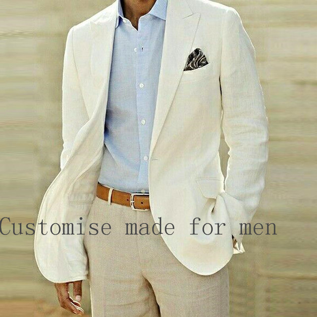 Summer Beach Linen Suits Ivory Wedding Suits Casual Notched lapel ...