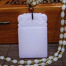 New Square Peace Without Words Wek-jin Afghanistan White Stone Pendant Women Mens Amulet Jades Jewelry Pendants+Beads Necklace