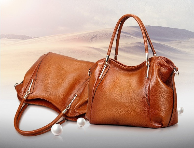 Vintage Women's Handbags Soft Genuine Leather Tote Crossbody Bag High Quality Cow Leather Shoulder Bags Female Brown Hand Bag 1
