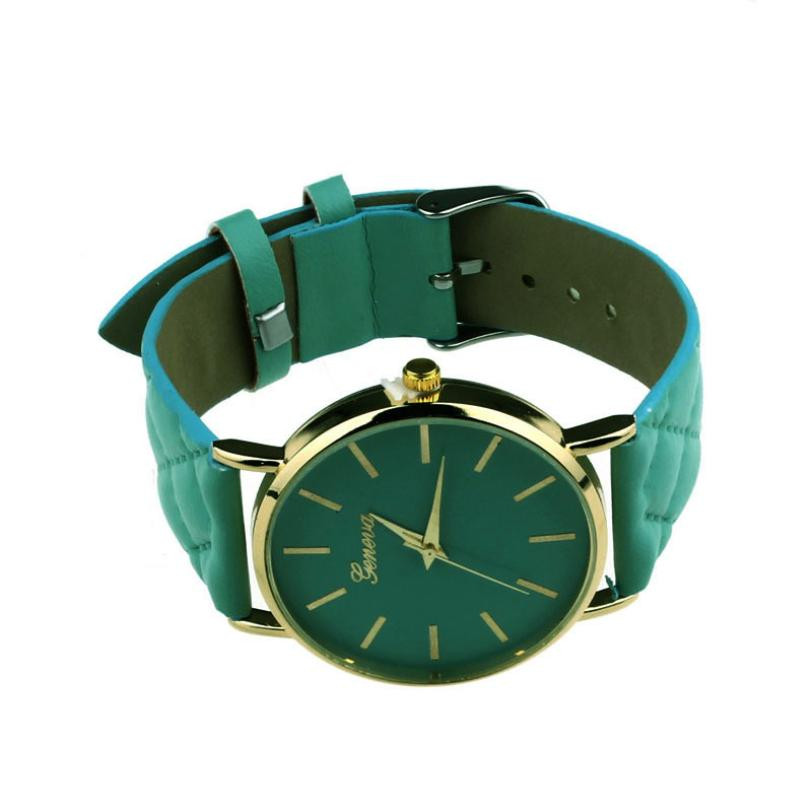 Checkers Faux Women Quartz Watch Green