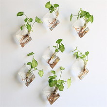 Подвесной цветочный горшок в форме бриллианта, настенная стеклянная ваза, Настенное подвесное кашпо, маленькие растения, стеклянный террариум, домашний декор