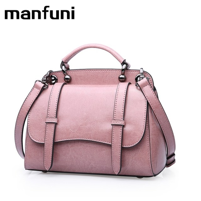 f62bdc6a95d9 MANFUNI Quality Genuine Leather Handbag Luxury Ladies Bag Designer Ladies  Gifts Ladies Shoulder Bag Retro Oil Wax Kraft Handbag