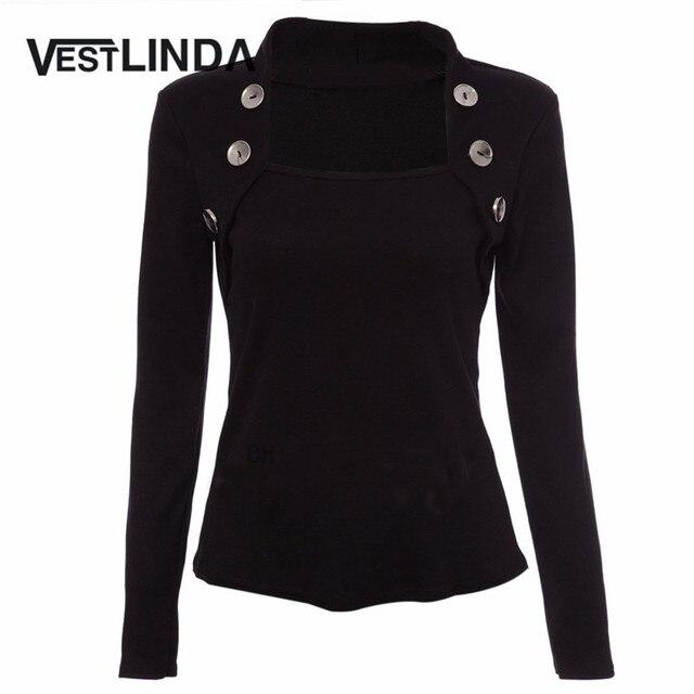 VESTLINDA Women T Shirt Tops Fall Tee Shirt Buttons Long Sleeve Ladies Shirts Knitted Femme Blusas 2017 Novelty Black T-Shirt