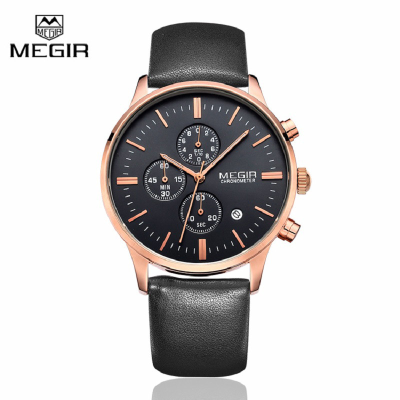 Megir Canvas & Genuine Leather Strap Business Mens Watches Top Brand Luxury Quartz Sport Wrist Watch Men Clock Relogio Masculino disu top brand 2017 men watches fashion simple quartz wrist watch business leather strap male sport rose gold dial clock ds039