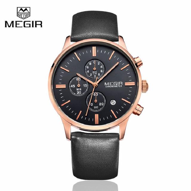 Megir lona e couro genuíno Strap negócios Mens relógios Top marca de luxo Quartz relógio de pulso esporte homens relógio Relogio Masculino