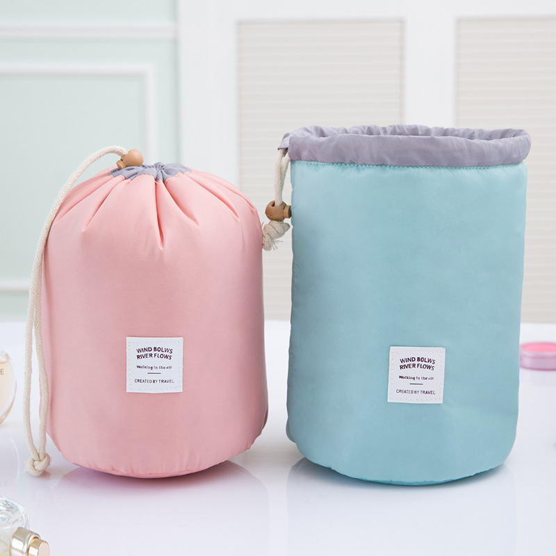 Travel Bag High Quality Waterproof Travel Cosmetic Bag Nylon Drawstring Barrel Wash Bag Large Capacity Women Cosmetic MakeUp Bag