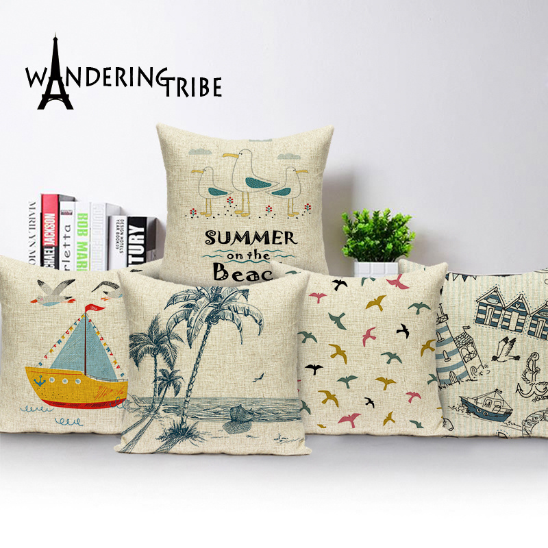 Children Decoration Cushion Covers Seagull Home Decor Summer On The Beach Scenic Pillow <font><b>Case</b></font> 45 X 45 <font><b>Seabird</b></font> Cover Cushions image