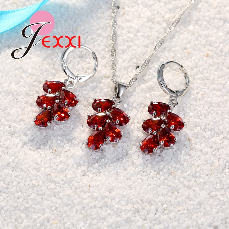 JEXXI Wedding Bridal Jewelry Set Untuk Wanita Warna-warni Water Drop - Perhiasan fashion - Foto 5