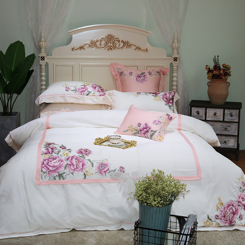 Luxury white flowers Embroidery 60S Egypt Cotton Comfortable Bedding Set Duvet cover Bed Sheet Pillowcase Queen King size 4/7pcs