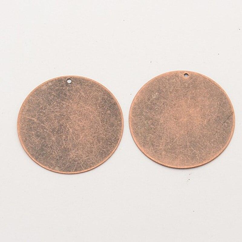 200 шт красная медь, металл, плоские круглые латунные пустые штамповочные бирки, подвески для ожерелья, ювелирных изделий, сделай сам, 34x0,3 мм, отверстие: 1 мм