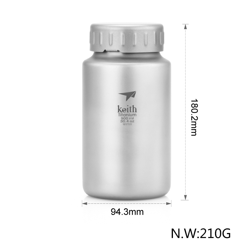 Keith 900ml and 1200ml Selection with bag Pure Titanium Drinkware Ultralight Portable Bottle