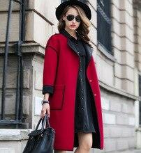 2015 Autumn new women's European leg of the new long-sleeved wool coat woolen coat