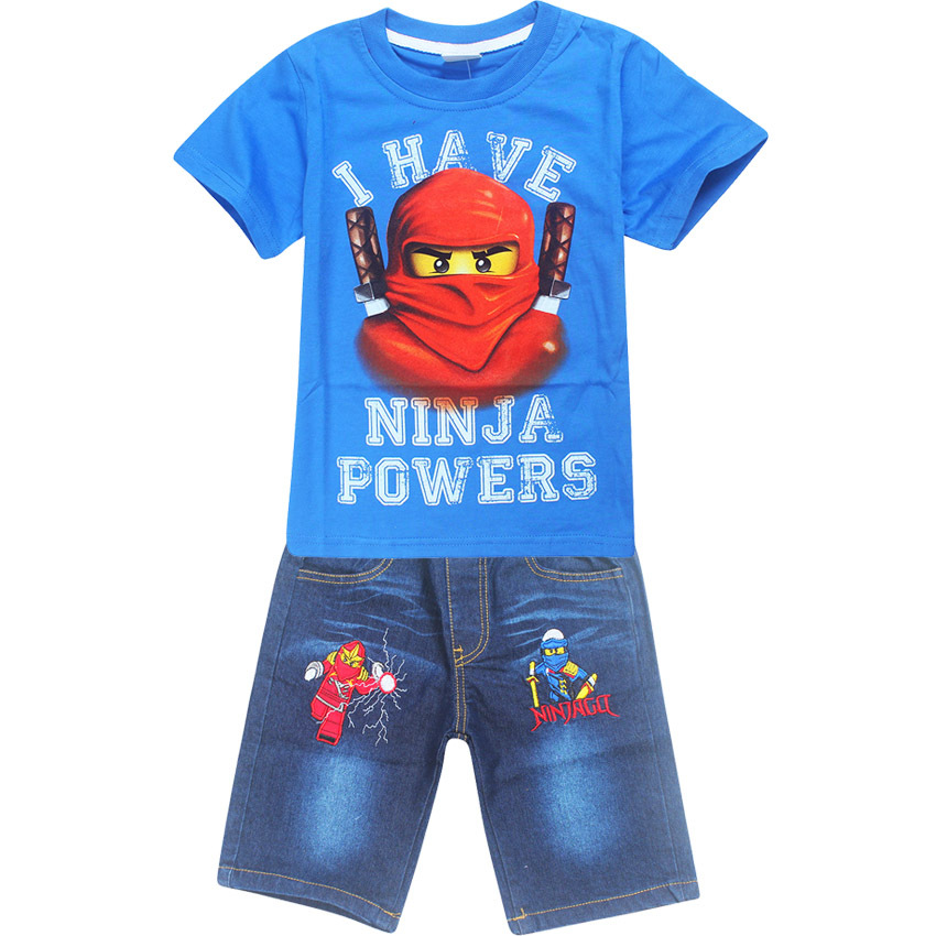 2017 Summer Children Ninja batman i have ninjago power suit boys jeans sets for boys t-shirt+pant 2pcs Kids spinjitzu Clothing