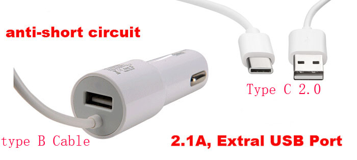 2.1A Type B USB Mobile Phone Car <font><b>Charger</b></font> Lighter+Type C USB Cable For Motorola Moto Z Play/Z2 Play,<font><b>LeEco</b></font> Le Pro3 Elite