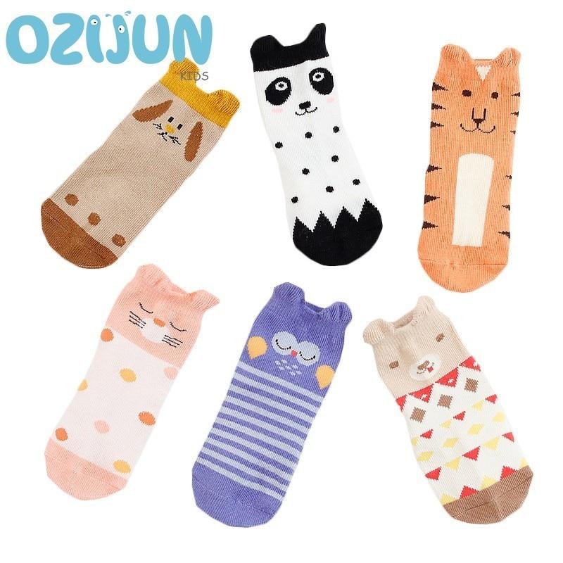 3 Pairs/lot Baby Boys Girls 1-3 Years Cute Cartoon Anti-slip Short Socks Kids Cotton Socks Panda Tiger Owl Puppy Cat