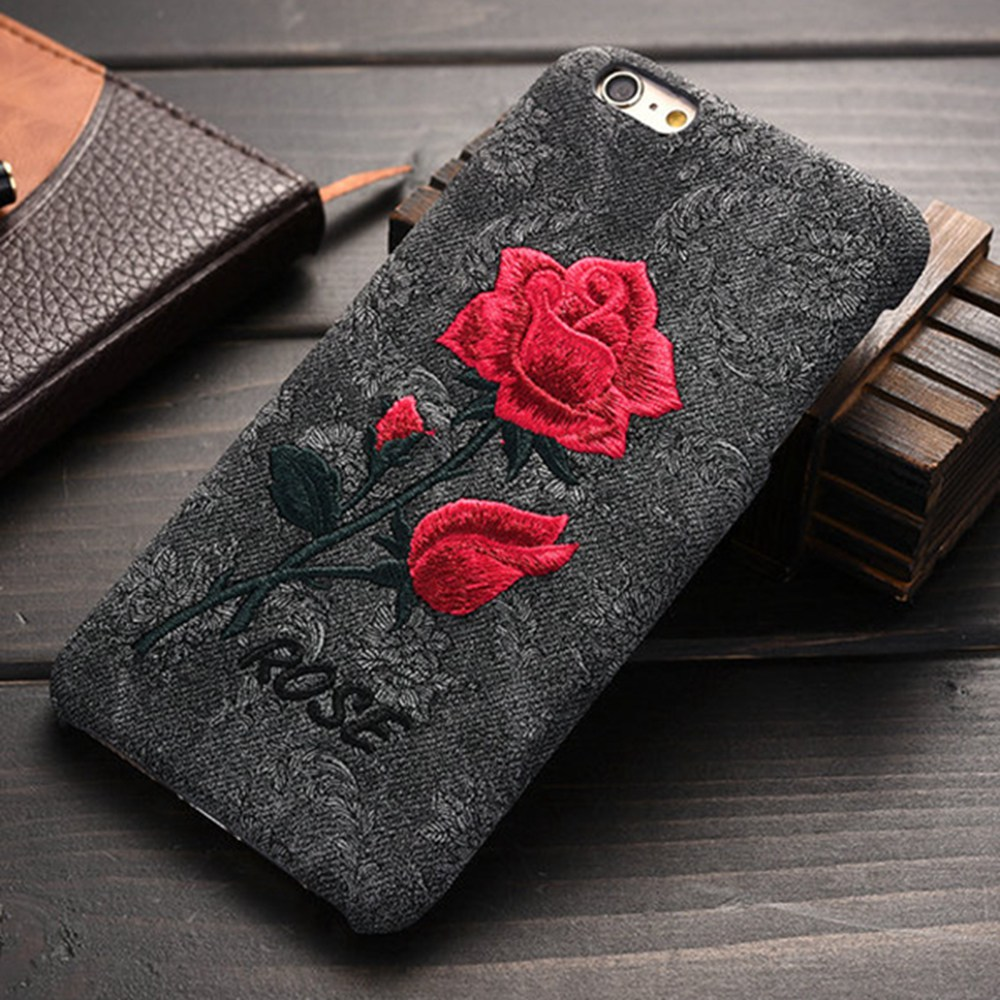 best service 4ebee d8e3e US $3.1 37% OFF|FLOVEME For iPhone X 7 iPhone 6 6S Case Rose Handmade  Embroidery 3D Roses Phone Bag Cases For iPhone 6 7 8 Plus Cases For Women  -in ...