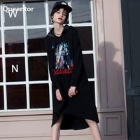 QUEENTOR Original 2017 Outono Inverno Coreano Solto Longo Irregular Com Capuz Caráter T-shirt Impresso Mulheres Vestido Atacado