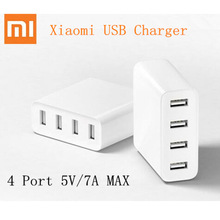 Authentic Xiaomi Mi USB Charger Four Ports 5V 35W Output Common Fast 2.4A Charger for Smartphones Charger+Plugs Adaptors