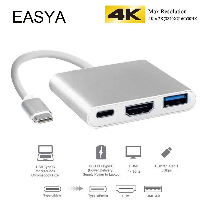 EASYA 3-in-1 Thunderbolt 3 Adapter USB C Hub to HDMI with PD Hub 3.0 support DEX mode for Samsung Phone MacBook Pro/Air Type-CEASYA 3-in-1 Thunderbolt 3 Adapter USB C Hub to HDMI with PD Hub 3.0 support DEX mode for Samsung Phone MacBook Pro/Air Type-C
