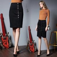 2017 Hot Sale Brand Women Clothing Button Denim Skirt Knee Length High Waist Elastic Pencil Denim