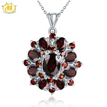 ФОТО hutang stone jewelry natural gemstone black garnet solid 925 sterling silver pendant necklace fine fashion jewelry for gift new