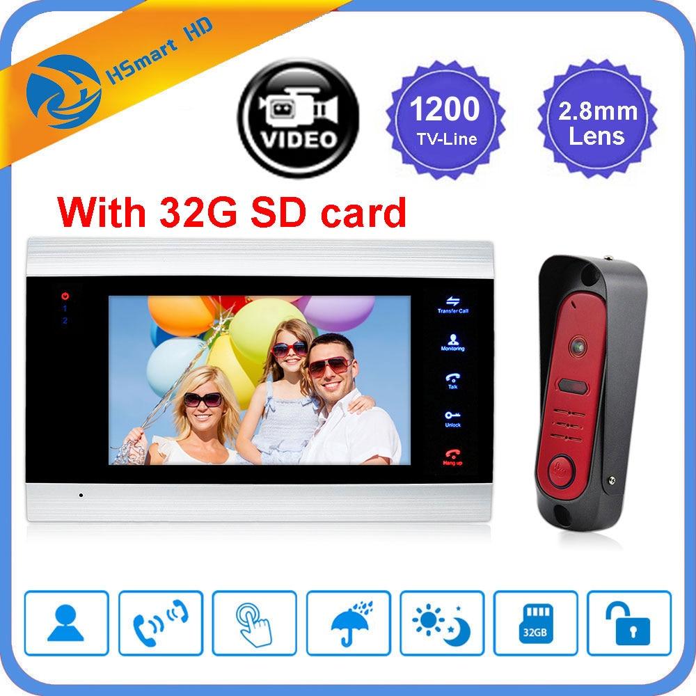 Home Video Door Phone Intercom Home Doorbell Security System Door Speaker Call Panel+7 Inch Monitor +1200TVL Camera +32G SD Card