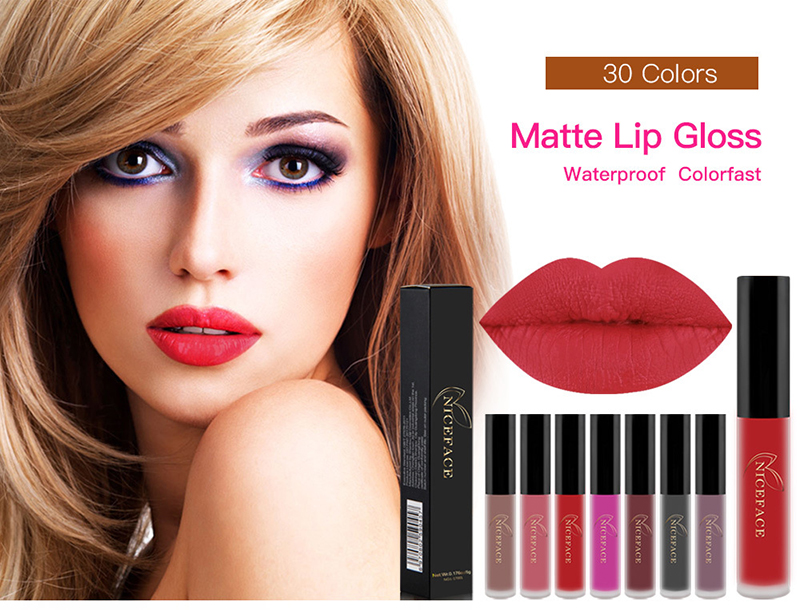 30 colors Matte Lip Gloss Waterproof Colorfast NiceFace