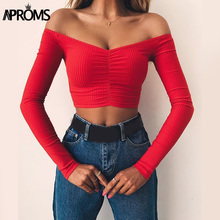Aproms Elegant Red Off Shoulder Long Sleeve Ribbed T-shirt Women Sexy Knitted Basic Stretch T Shirt 90s Girls Crop Top Tees 2019 one shoulder plain ribbed t shirt