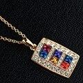 Высокое Качество Классический Дизайн Роуз Позолоченные Многоцветный Австрийские Кристаллы Асфальтовая Ожерелье (NSH-882)