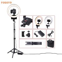 "Фотография fosoto 12"" photography Lighting Dimmable Bi-color 3200K-5600K 36W CRI 93 Camera Photo Studio Phone Video Ring Light Lamp&Tripod"