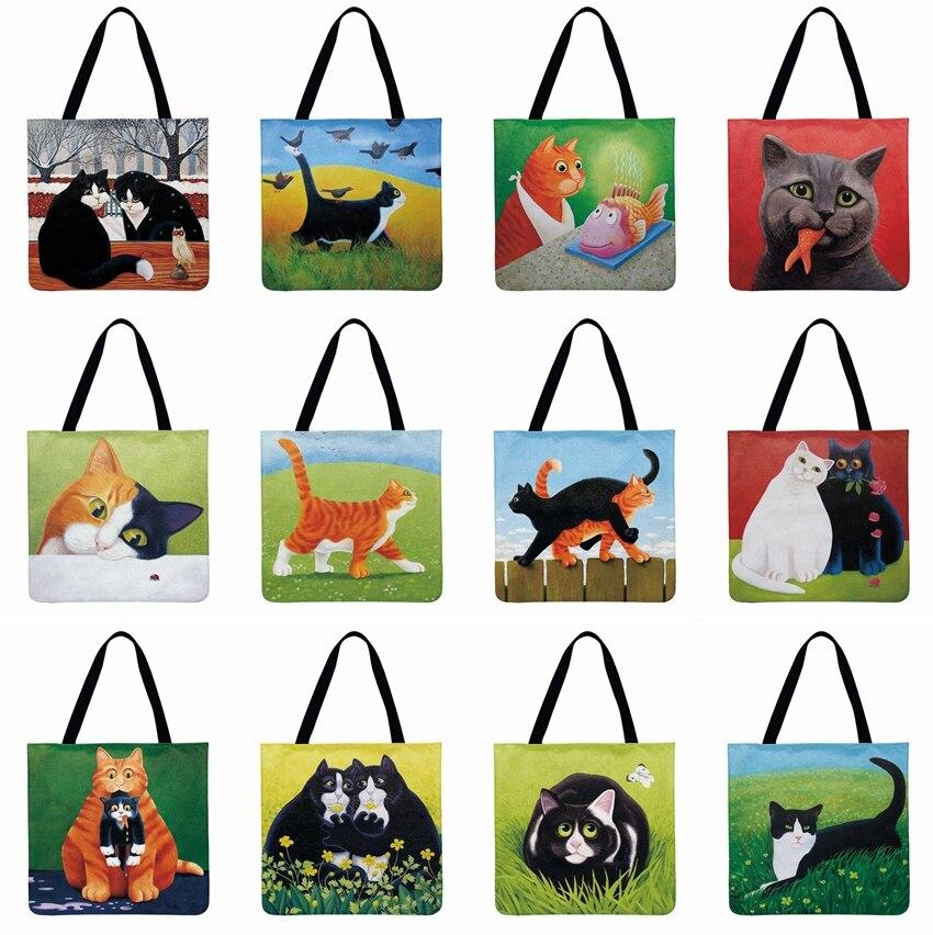 Ladies Shoulder Bag Oil Painting Cat Printed Tote Bag Casual Totes Bag Outdoor Beach Bag Daily Handbag Reusable Shopping Bag
