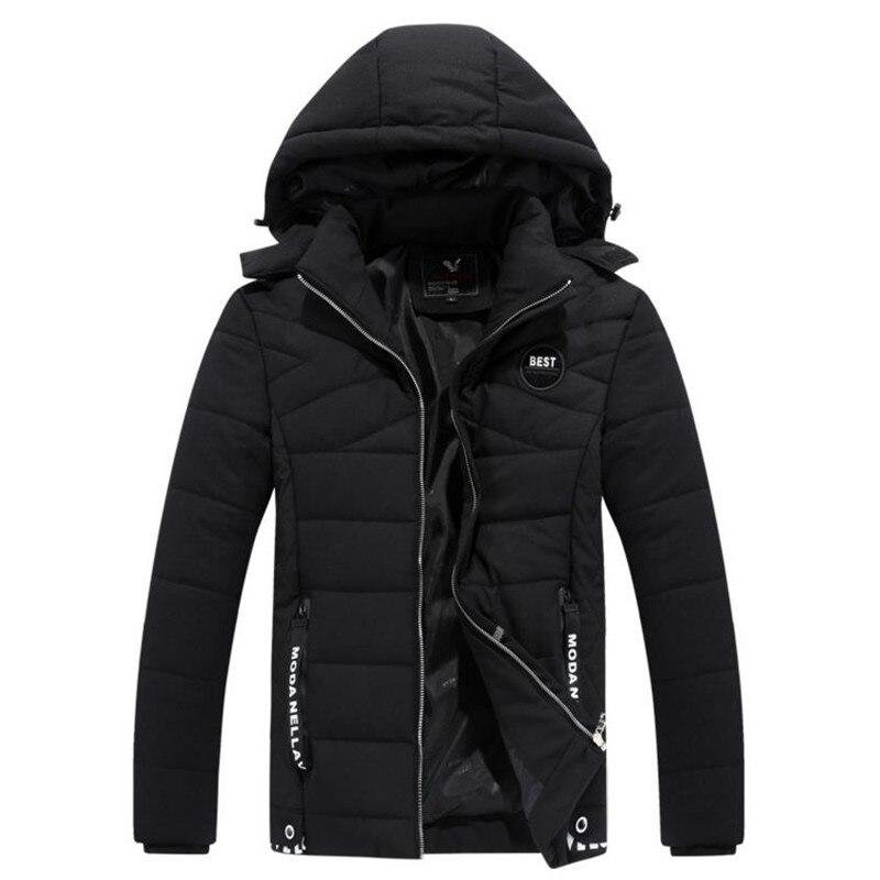 2018 Новый Для мужчин поступления зимняя куртка Для мужчин повседневные Плотные хлопковые Для мужчин дикий куртка с капюшоном Для мужчин пал...