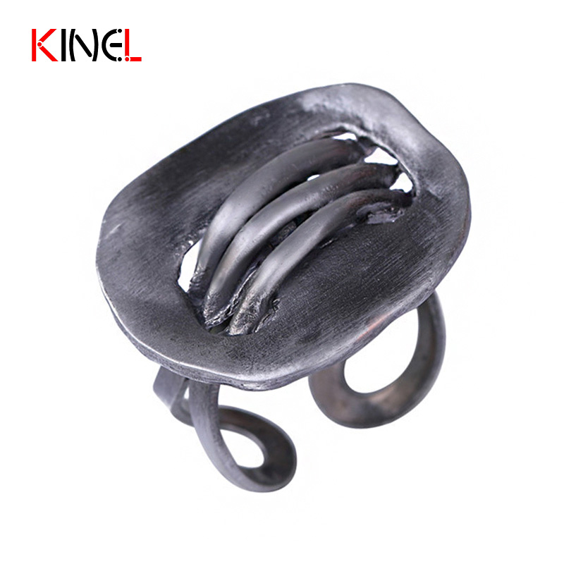 2017 NEW Punk Vintage Rings For Women Fashion Simple Tin Color Antique Party Jewelry Adjustable Female Metal Ring Dropshipping