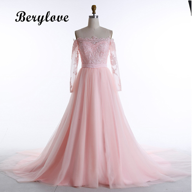 Lengan Panjang Berwarna Merah Muda Gaun Pernikahan 2018 Off Shoulder