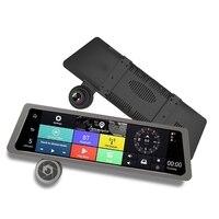 Новый 10 ips Сенсорный экран Двойной объектив Видеорегистраторы для автомобилей Камера зеркало Android 4 г gps Зеркало заднего вида видео Регистра