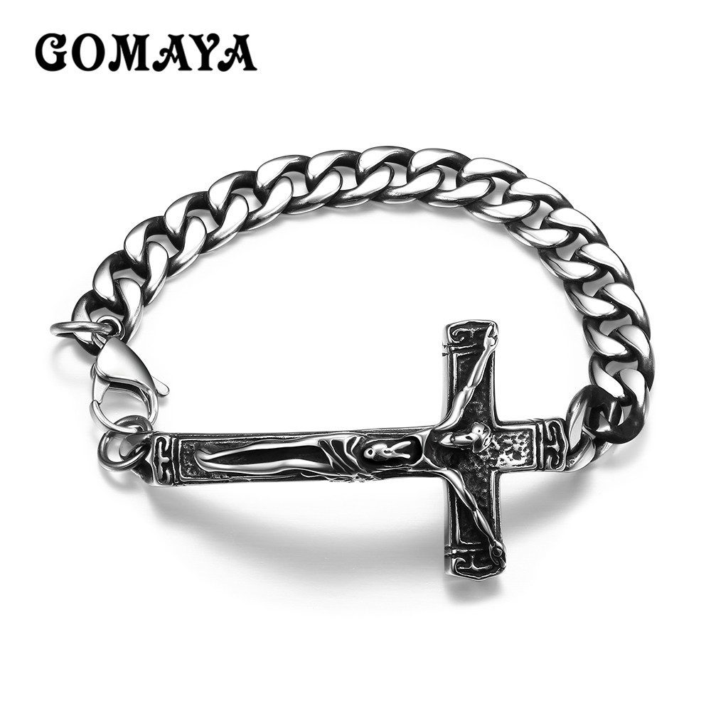 GOMAYA Retro Chain Link Bracelet Men Heavy Cross Stainless Steel Mens Bracelets Cool Punk Male Jewelry Wristband Pulseira
