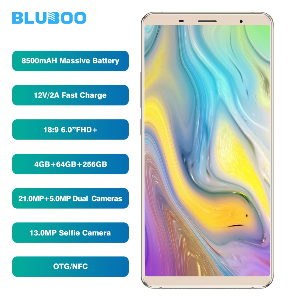 BLUBOO S3 18:9 FHD + Smartphone 6.0 ''MTK6750T Octa Core 4 gb RAM 64 gb ROM Mobile Téléphone 8500 mah 21MP + 5MP Double Arrière Caméras NFC OTG