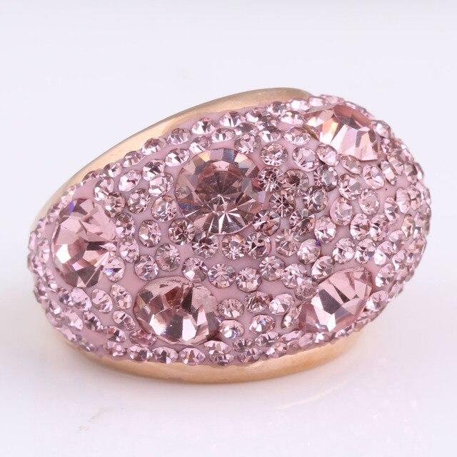 Oro rosa-Color Acciaio Inox Romantico Rosa Austriaco di Cristallo Anelli di Fidanzamento per Le Donne Gioielli