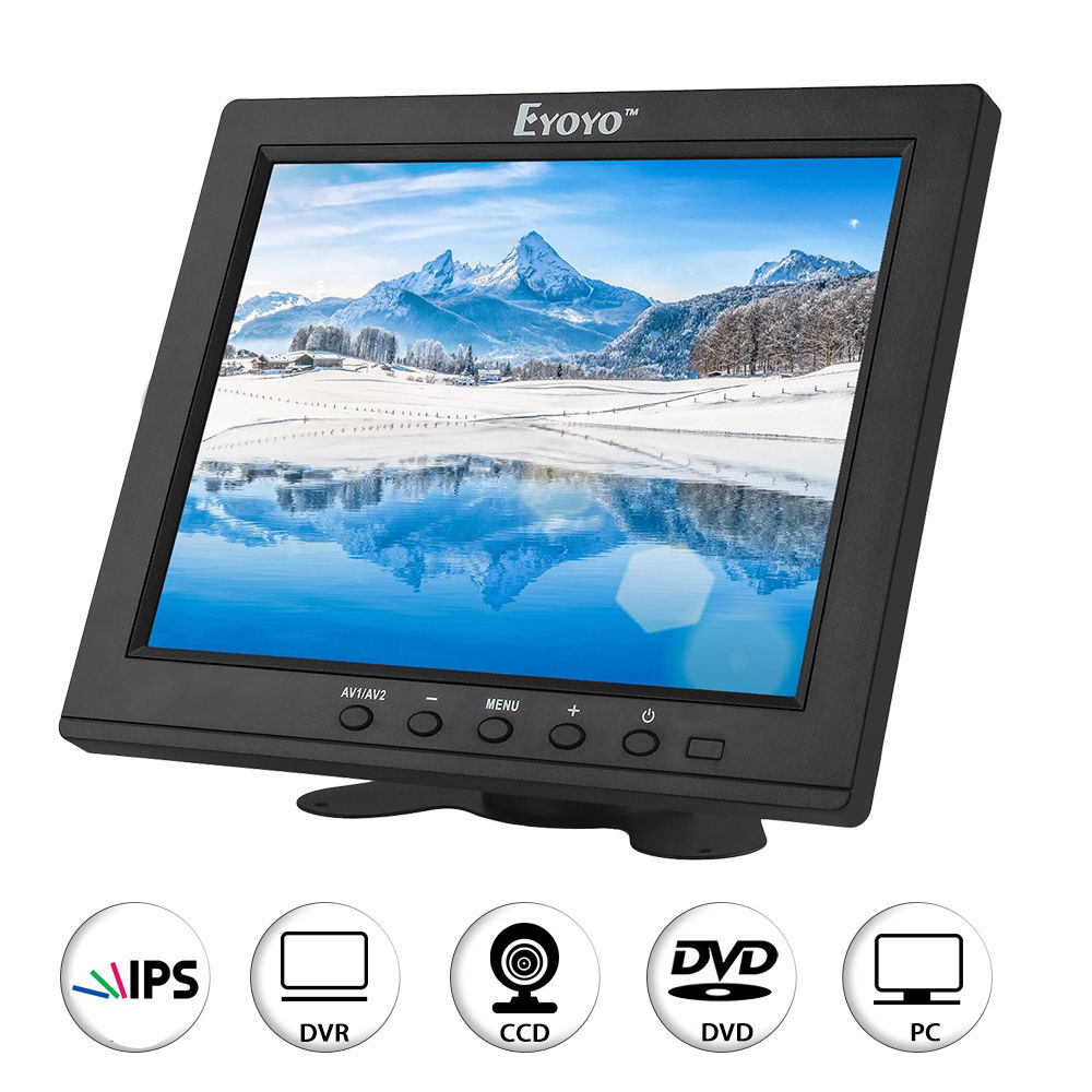 Eyoyo Mini 8 inch IPS LCD Color Monitor HDMI BNC AV VGA With Speaker for CCTV Security Camera DVD FPV DVR 8 inch lcd monitor color screen bnc tv av vga hd remote control for pc cctv computer game security